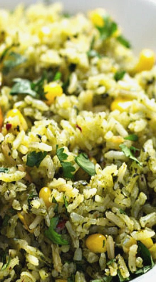 Green Mexican Rice with Corn