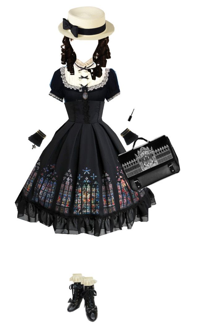 """Dejame en Paz"" by thatgalaxygreaser on Polyvore featuring Bodyline, Monsoon, Marc Jacobs, lolita, classiclolita, stainedglass and Cathedral"