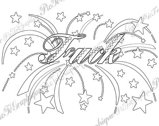 Fck Coloring Page The Swearing Words Vulgar Xxx You Dirty Mature