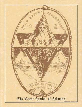 The Great Symbol of Solomon. By Eliphas Levi from his book Transcendental Magic; The Double Triangle of Solomon, represented by the two Ancients of the Kabalah; the Macroprosopus and the Microprosopus