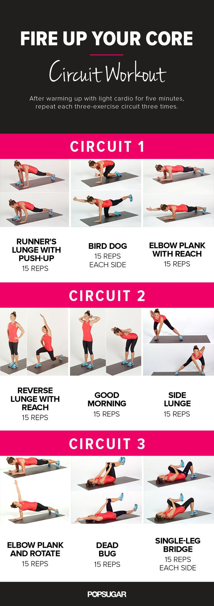While your core is certainly targeted, your whole body will be feeling the burn with this dynamic core circuit workout that combines strength-training moves with light cardio. Just print out this poster, and tone your core at home, the office, or the gym.