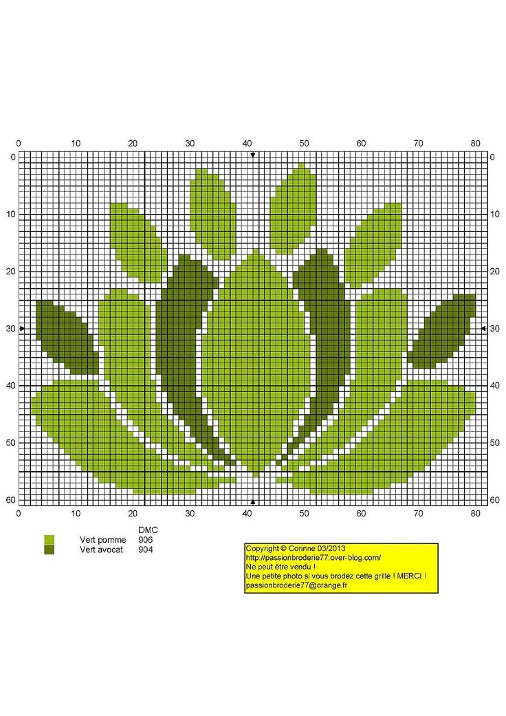 Lotus vert (Green Lotus), designed by Le blog de Passionbroderie77 blogger, Corinne Thulmeaux.