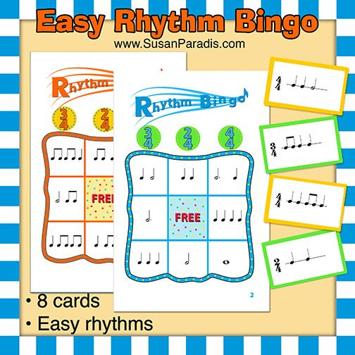 Easy Rhythm Bingo Easy Rhythm Bingo Calling Cards Not too long ago I posted a rhythm bingo game for older students with meters such as 3/8 and 9/8. An alert teacher asked me if I had posted a begi...