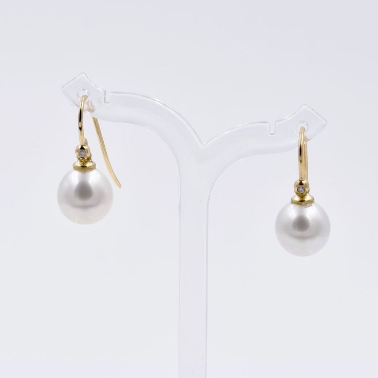 South Sea Pearl and Diamond Dangle Earrings, 14K Gold Shepherds Hook, by Fine Jools. #bridalearrings