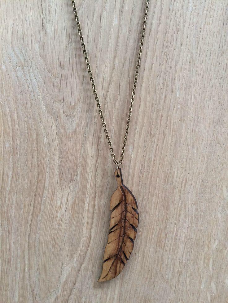 Olive wood necklace.