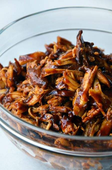 Slow Cooker Honey Garlic Chicken: Tender shredded chicken breasts tossed in a sweet and tangy sauce made with honey, garlic and soy sauce.