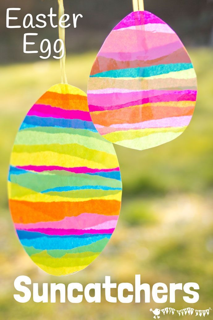 EASTER EGG SUNCATCHER CRAFT for kids is bright and colourful. They look beautiful in windows and can be hung outside for Easter egg hunts too. A super Easter craft / Easter art idea.