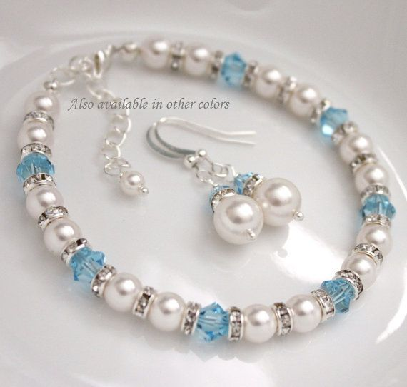White Pearl and Aquamarine Crystal Bracelet by alexandreasjewels, $27.50