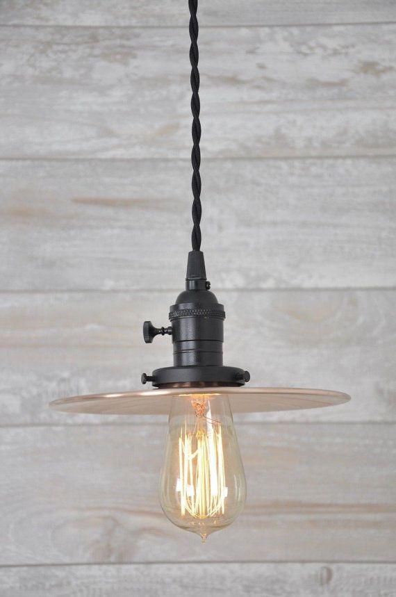 Brushed Copper Flat Shade Matt Black Industrial Pendant Light Fixture Rustic & 17 Best images about 317 lighting on Pinterest | Flats Glass ball ...