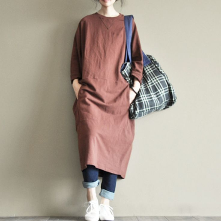 Two Colours Round Collar Long Dress Causel Women Clothes