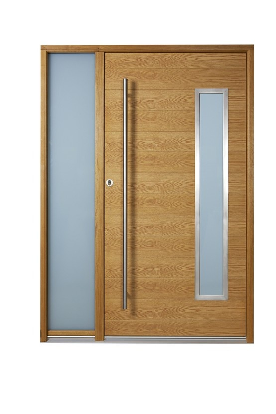 Our most secure door, the Alfa. Oak timber with horizontal grooves & stainless steel beads and pull handle.