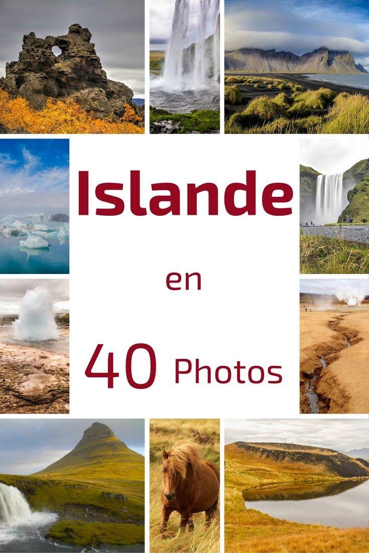 Découvrez les magnifiques paysages d'Islande en 40 photos. Découvrez les magnifiques Cascades islandaises, le geyser, les icebergs... Skogafoss, Jokulsarlon, Dettifoss, Myvatn.... Soyez prêts à préparer vos valises ! Le bonheur d'un voyage en Islande !
