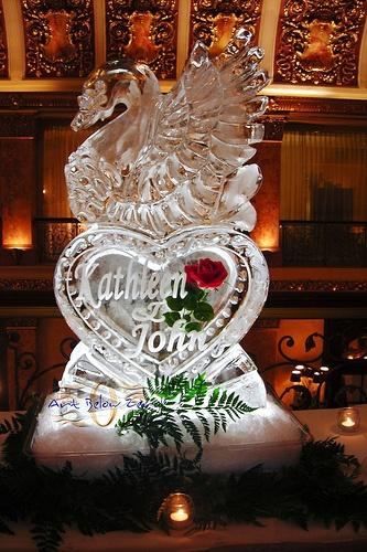 Elegant Swan on a heart Ice Sculpture _Ice Sculpture _Wedding _Events