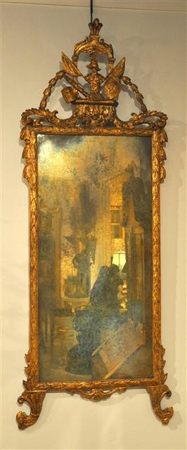 XVIII C. Italian Gilt Carved Mirror