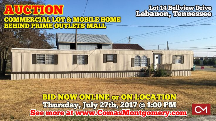 AUCTION featuring COMMERCIAL LOT & 3 BR, 2BA MOBILE HOME - ZONED CS - LOCATED BEHIND PRIME OUTLETS MALL - MANY POSSIBILITIES!  Lot 14 Bellview Drive, Lebanon, Tennessee in Wilson County.  BID NOW ONLINE or ON LOCATION Thursday, July 27th, 2017 @ 1:00 PM.  CLICK HERE TO VIEW MORE ABOUT THIS AUCTION! http://comasmontgomery.com/index.php?ap=1&pid=54462   #realestate #auction #lebanon #tennessee #mobilehome #commercial #lot #land #primeoutletsmall #murfreesboro #nashville #interstate #i40