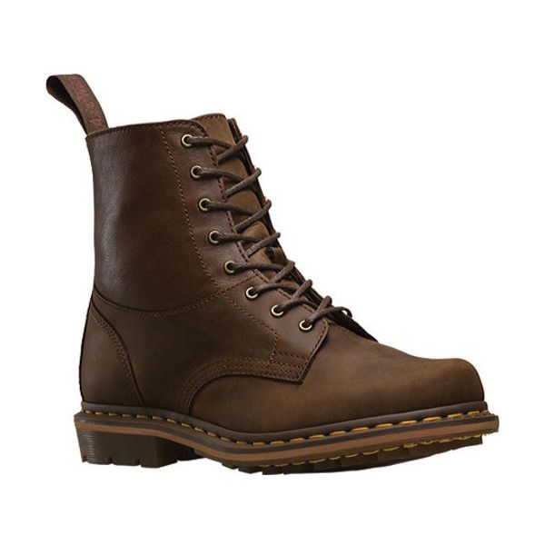 Men's Dr. Martens Tristan 8 Eye Boot ($128) ❤ liked on Polyvore featuring men's fashion, men's shoes, men's boots, ankle boots, brown, mens brown ankle boots, mens leather combat boots, mens shoes, mens leather ankle boots and mens combat boots