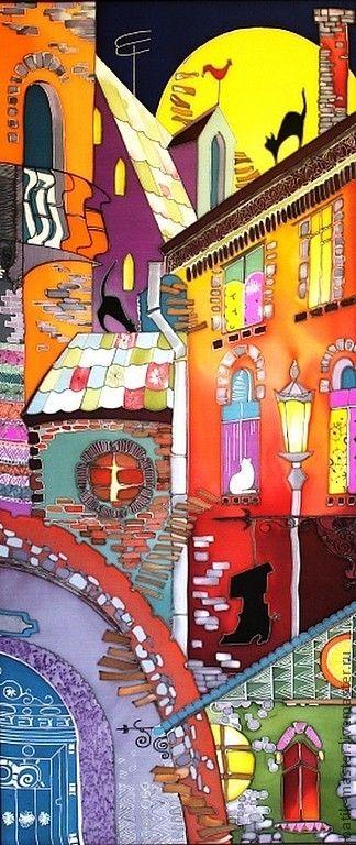 Картина батик Ночь в Старом Городе - оранжевый,картина в подарок,картина батик