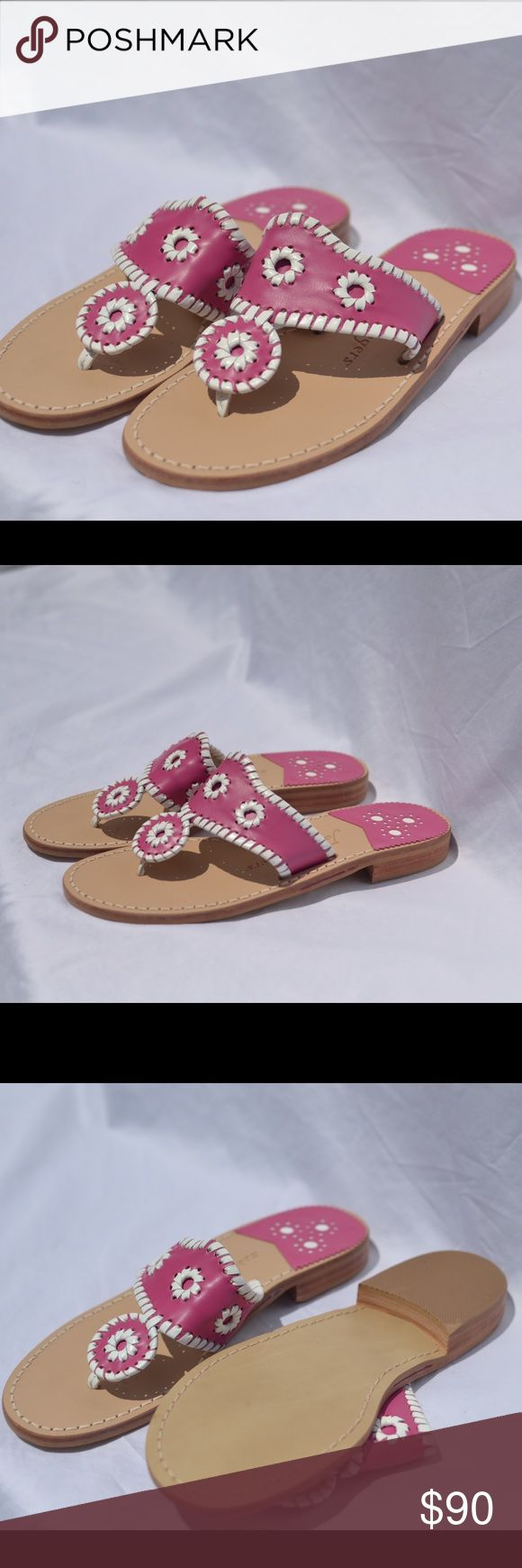 New Jack Rogers Navajo Sandal Size 7 There are brand new, never been worn dark pink with white trim Jack Rogers Navajo Sandal Jack Rogers Shoes Sandals