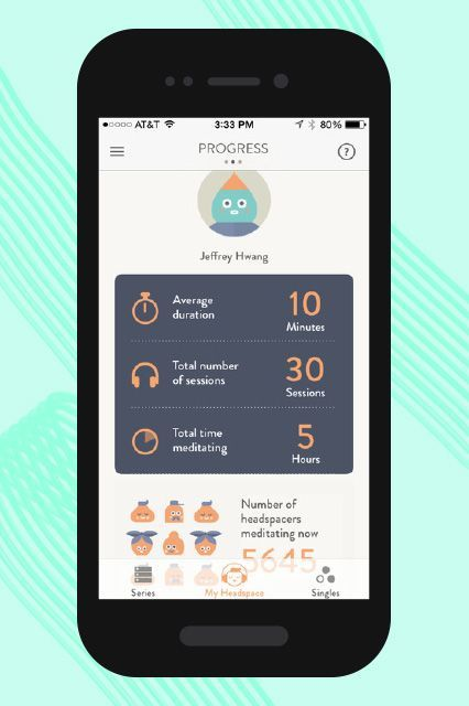 "HEADSPACE: You'll start on level one with just a 10-minute meditation session, complete with calming guidance in a soft, British accent. From there, your challenge is to ""Take 10"" for 10 days straight. It gives you tips for how to get started with the practice (you start with your eyes open!) — and how to make it a real habit. After the initial 10-day streak, you can pay for more. (App: free-$94.99)"