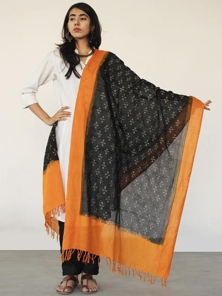 Rust Orange Black Ikat Handwoven Pochampally Cotton Dupatta -  D04170152  #dupatta #Buydupatta #Onlinedupatta #Newdupatta #Buyonlinedupatta #Shopdupatta #Cottondupatta #blockprint #dupattas #womendupatta #longdupatta #ladiesdupatta #naturaldye #traditionalart #ethnic #indo-western #fushiondupatta #fashion #style #tyeanddye #ikat #ikkat #ikatdupatta