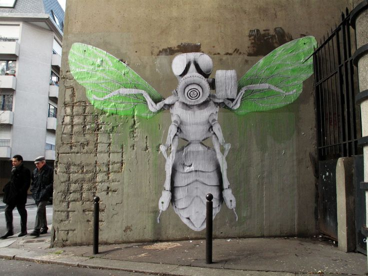 thebeardguy:    LUDO, also known as Nature's Revenge, is a French street artist committed to return aspects of nature in an otherwise artificial city. The works of art are typically hybrid creatures of nature and technology, but they always feature green as a prominent color.