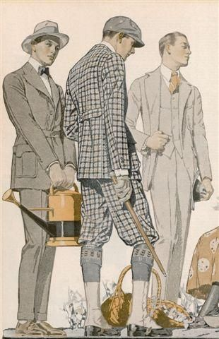 1900년대의 남성 패션 일러스트...인데, 맨 왼쪽의 남자분이 너무 다소곳하게 물뿌리개를 들고 서있어서 볼 때 마다 왜인지 웃음이 나오는 일러스트입니다.