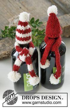 DROPS Jul: Stickad DROPS mössa och halsduk till flaska i Nepal Gratis mönster från DROPS Design.
