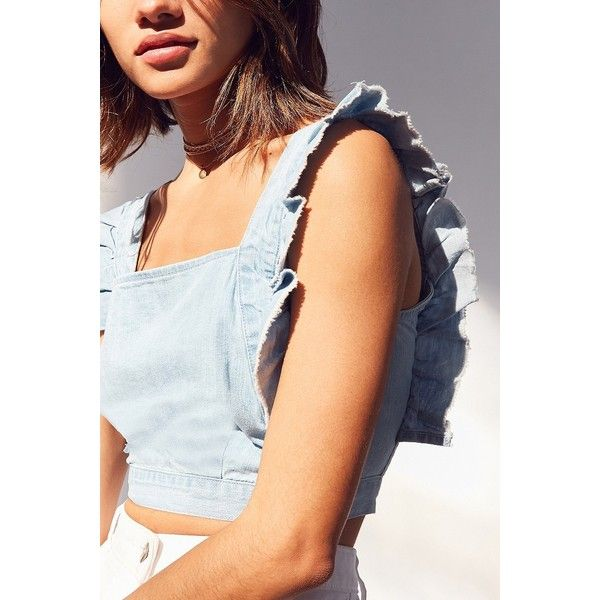 Cooperative Denim Frill Apron Top ($49) ❤ liked on Polyvore featuring tops, denim crop top, cami top, ruffle crop top, cropped cami and boxy crop top