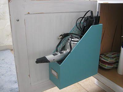 Upcycled Magazine File - Hairdryer Storage