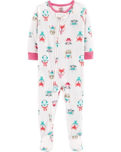 8ae28209aabe 1-Piece Winter Animals Fleece PJs