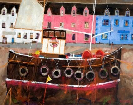 Scottish Artist David SMITH RSW-Portree Harbour