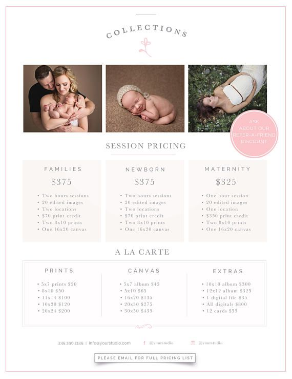 Photography Price List Template, Photographer Pricing Guide, Photo