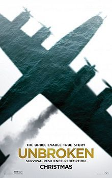 """Unbroken (December 25, 2014) a war drama film produced/directed by Angelina Jolie, based on novel by Laura Hillenbrand, Unbroken: A World War II Story of Survival, Resilience, and Redemption. Story about life of Olympic athlete Louis """"Louie"""" Zamperini (1917-2014), who survives a plane crash in the Pacific, 47 days drifting on a raft, 2 1/2 years living in several Japanese prisoner of war camps. Stars: Jack O'Connell, Garrett Hedlund and Domhnall Gleeson."""