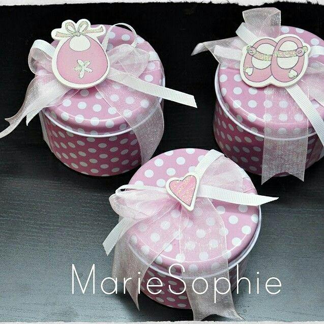 Metal pink boxes#μπομπονιέρα#www.mariesophie.gr