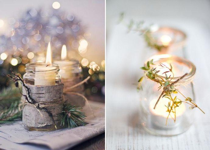 Adornos navideños caseros con velas