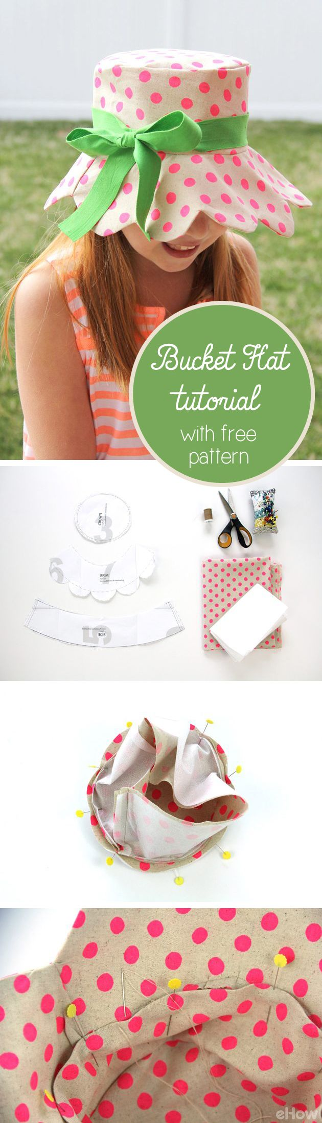 Free pattern included in this bucket hat tutorial! Perfect for summer picnics and outings, you're going to love to sport your handmade scalloped brim edge bucket hat everywhere. Print the pattern and get the DIY instructions here: http://www.ehow.com/how_5850012_make-bucket-hat.html?utm_source=pinterest.com&utm_medium=referral&utm_content=inline&utm_campaign=fanpage
