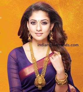 Latest Indian Gold and Diamond Jewellery Designs: Nayanthara in GRT jewellery
