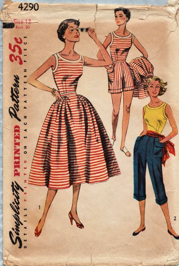 Simplicity 4290 / Vintage 50s Sewing Pattern / Blouse Skirt Shorts