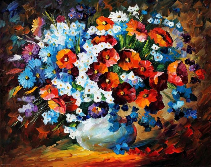 POPPIES AND CORNFLOWERS — Palette knife Oil Painting  on Canvas by Leonid Afremov  -born 1955, Belarus