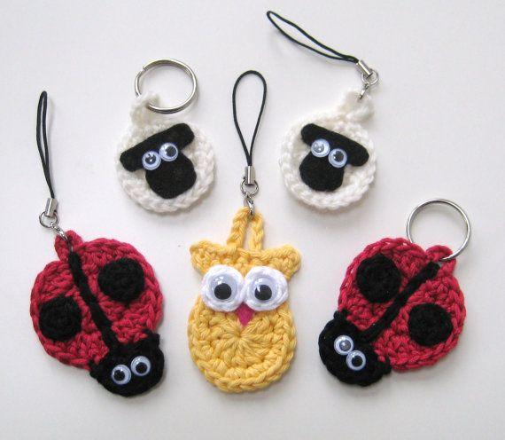PDF PATTERN keyring animals : sheep, ladybird and owl, crochet, googly eyes, cute, uk and us crochet terms No7. €3.75, via Etsy.