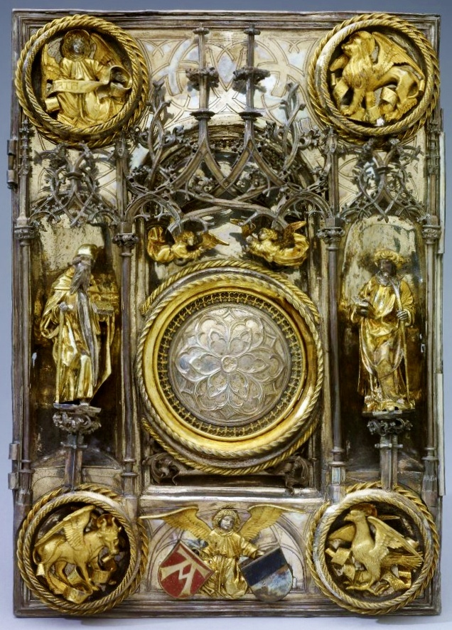 Silver & silver-gilt cover to the Book of the Gospels depicting angels and the four evangelists, Matthew, Mark, Luke and John. Presumed by School of Daniel Mauch, Ulm, Germany, c1506 (British Museum)