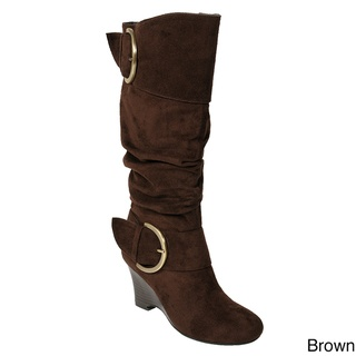 @Overstock.com - These boots by Glaze by Adi feature a faux suede upper with side buckle accents. A wedge heel adds height to these boots.http://www.overstock.com/Clothing-Shoes/Glaze-by-Adi-Womens-Faux-Suede-Buckle-Accent-Tall-Boots/5162852/product.html?CID=214117 $49.99