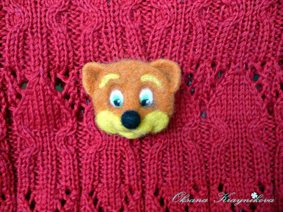 Felted brooch orange fox felted pin wool brooch by FeltingToysArt