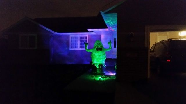 New 2015 gemmy lightshow projection ghost witch spider for Home depot halloween decorations 2016