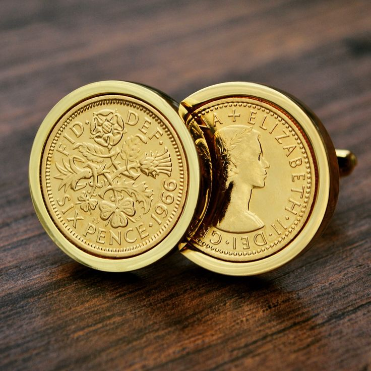 24k Gold Plated Sixpence Coin Cufflinks (1966)