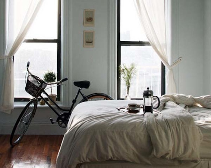Bicycles in our homes  - from EnjoyHomeBicycles, Sunday Mornings, French Press, Beds, Dreams, Four-Post, Bikes, Black Windows, Cozy Bedrooms