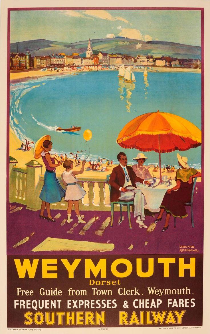 Weymouth Southern Railway 1935 - original vintage poster by Leonard Richmond listed on AntikBar.co.17