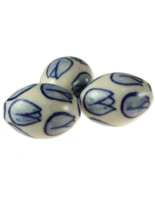 Delfts Blauw Tulp (25 x 19 mm) Gat 2 mm (10 Stuks) - Delfts Blauwe Kralen - Kralen