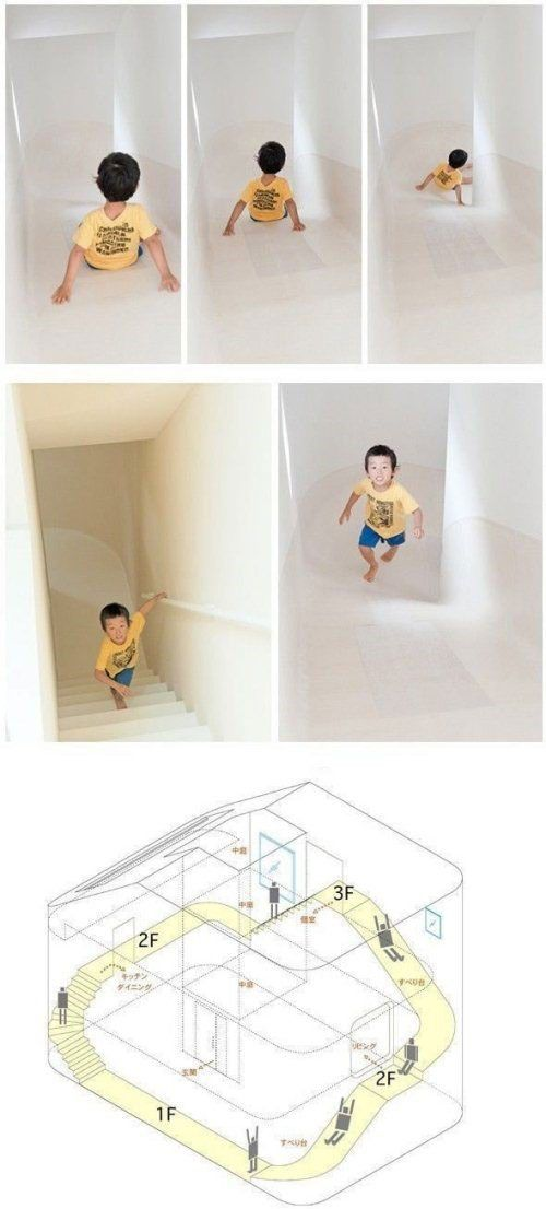 Slide to downstairs ... :o) that would keep the kids busy for hours