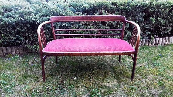 antieke art nouveau Thonet beklede gebogen hout Bank sofa Bank
